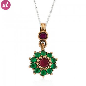 Emerald and Ruby Stone Authentic Necklace