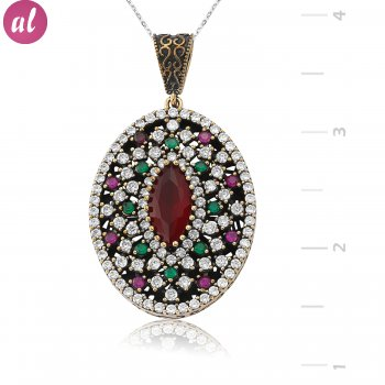 Silver Pink Zircon Stone Authentic Necklace