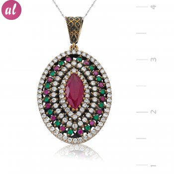Silver Zircon Pink Stone Authentic Necklace