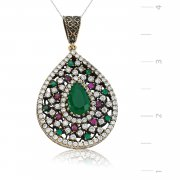 Silver Zircon Green Stone Authentic Drop Shaped Necklace