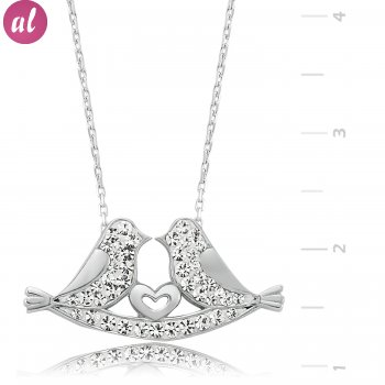 Silver Zircon Stone Two Inseparable Chums Necklace