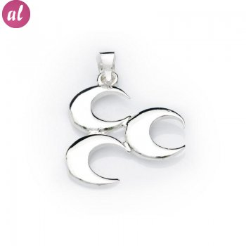 Three Crescent Silver Necklace