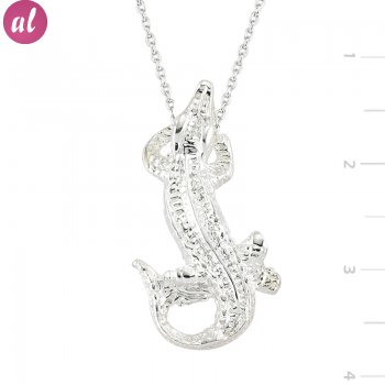 Rhodium Crocodile Silver Necklace