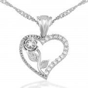 Zircon Stone Rhodium My Heartin Roseü Necklace