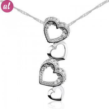 Zircon Stone Rhodium Plated Love Way Necklace