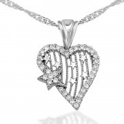 Zircon Stone Rhodium Plated My Heartin Starı Necklace
