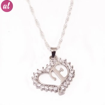 F Letter Silver Necklace