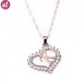 K Letter Silver Necklace