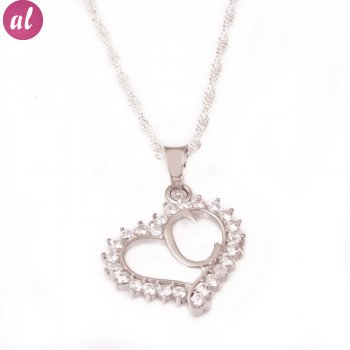 C Letter Silver Necklace