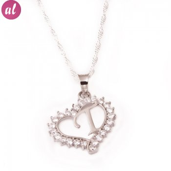 T Letter Silver Necklace