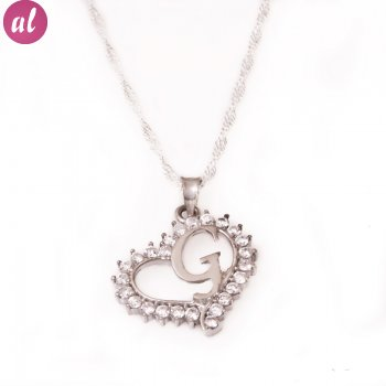 G Letter Silver Necklace