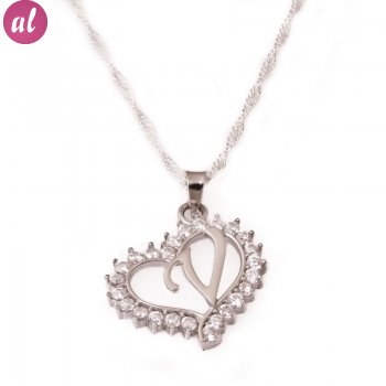 V Letter Silver Necklace