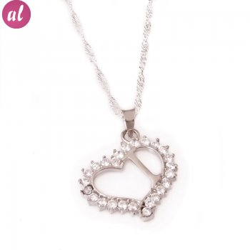 I Letter Silver Necklace