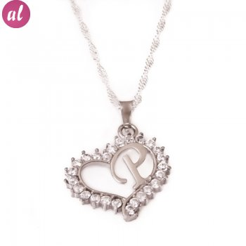 P Letter Silver Necklace