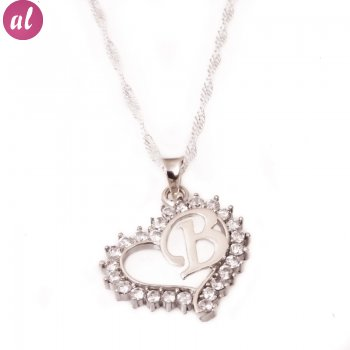 B Letter Silver Necklace