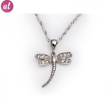 Silver Angel-Dragonfly Necklace