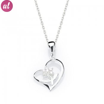 Flower Of My Heart Silver Necklace