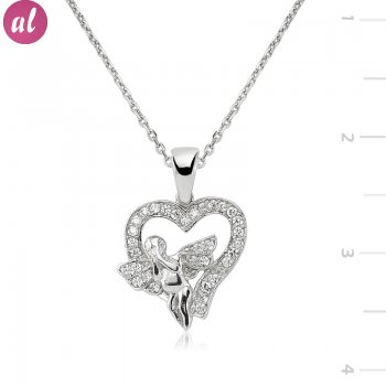 Silver Angel in my heart Necklace