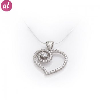 Silver Zircon Stone Heart Necklace
