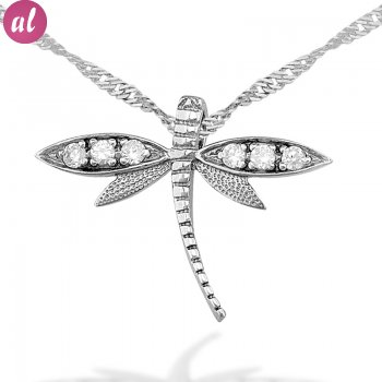 Zircon Stone Rhodium Plated Dragonfly Necklace