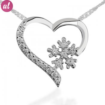 Zircon Stone Snowflake Heart Necklace