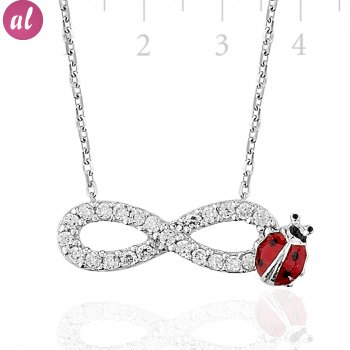 Zircon Stone Rhodium Plated Eternity Ladybug Necklace