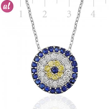 Zircon Stone Rhodium Plated Totemic Necklace