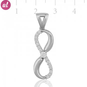 Zircon Stone Rhodium Plated Eternity Necklace
