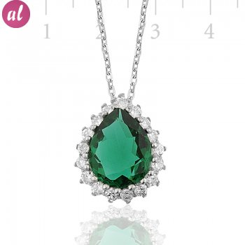 Zircon Stone Rhodium Plated Hürrem Waterltan Necklace