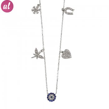 Zircon Stone Rhodium Plated Luck Necklace