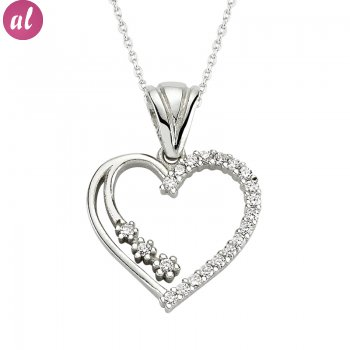 Zircon Stone Rhodium Plated Silver Heart Necklace