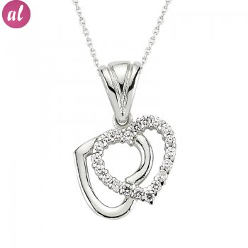Zircon Stone Rhodium Plated My Heartiz Necklace