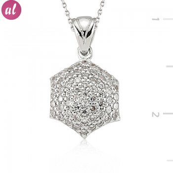 Silver Zircon Stone Necklace