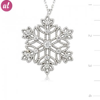 Rhodium Plated Snowflake Necklace