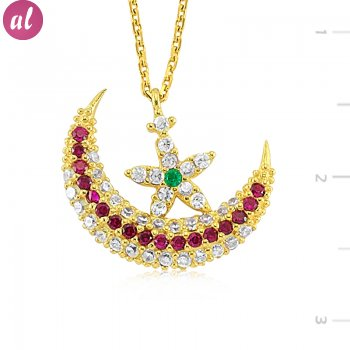 Gold Plated Crescent Necklace