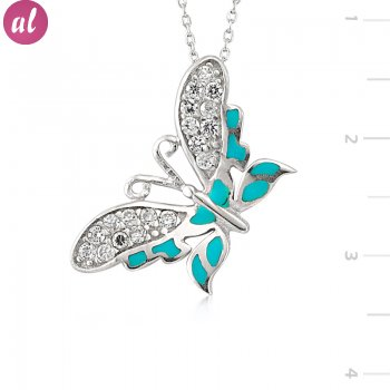 Rhodium Plated Butterfly Necklace