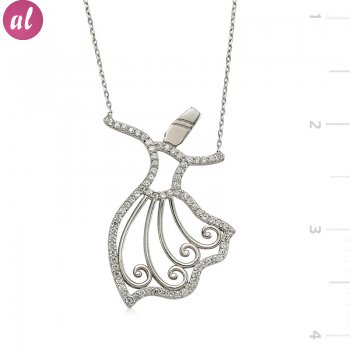 Silver Zircon Stone Whirling Dervish Necklace