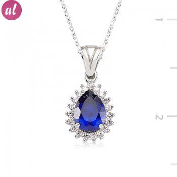 Zircon Sapphire Stone Drop Shaped Necklace