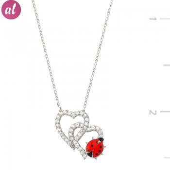 Ladybug Couple Heart Necklace