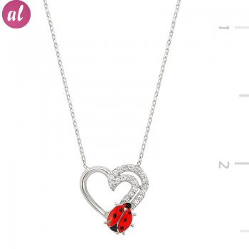 Two Sıra Zircon Stone Heart Necklace