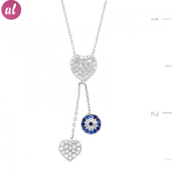 Zircon Stone Totemic and Heart Necklace