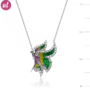 Zircon Stone Butterfly Necklace