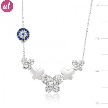 Zircon Stone Totemic Butterfly Necklace