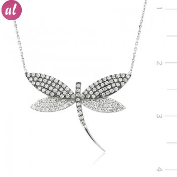 Zircon Stone Dragonfly Necklace