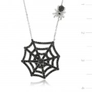 Zircon Black Stone Spider Ağı Necklace