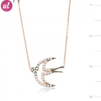 Tekbir Silver 925 Zircon Stone Rose Swallow Necklace