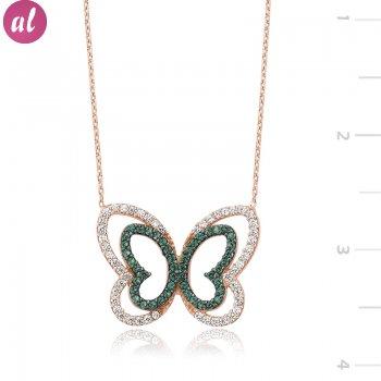 Zircon Stone Rose Butterfly Necklace