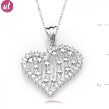 Zircon Stone Silver My Heartin Starı Necklace