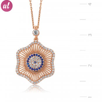 Rose Plated Totemic Flower Necklace