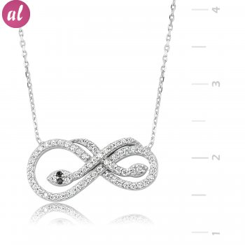Eternity Silver Snake Necklace